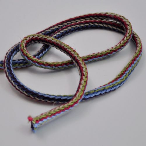 Tubular knit braid cherry olive blue white sky 1.5cm wide